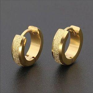 Gold Hoop Men's Stud Set of Earrings NWT